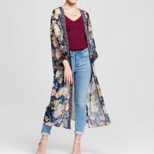 Blue Flower print maxi kimono with front pockets M
